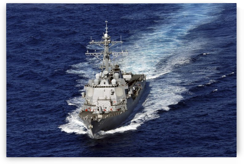 The guided missile destroyer USS Nitze transits the Atlantic Ocean. by StocktrekImages