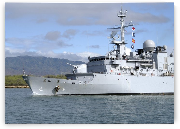 The French navy frigate FS Prairial departs Joint Base Pearl Harbor-Hickam. by StocktrekImages