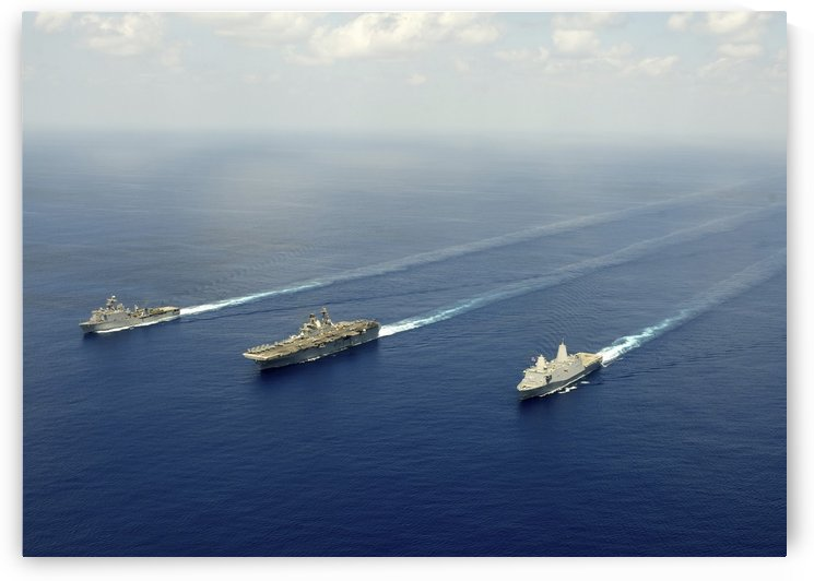 USS Pearl Harbor USS Makin Island and USS New Orleans transit the Indian Ocean. by StocktrekImages