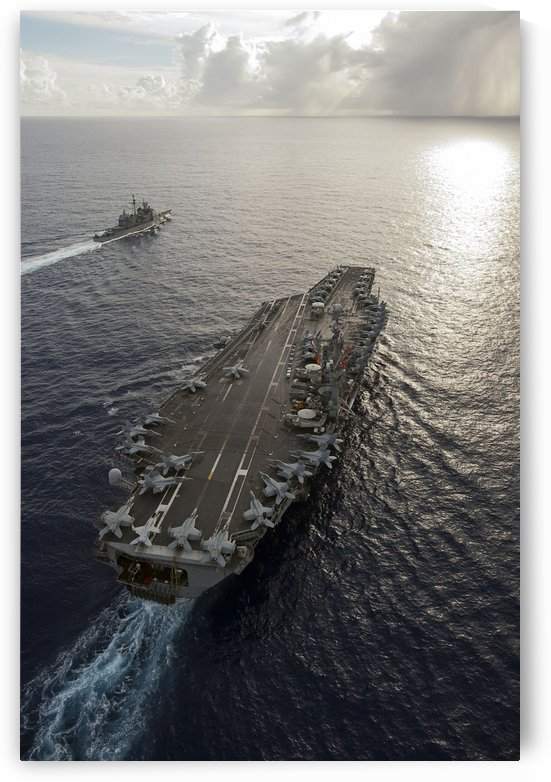 USS George Washington and USS Mobile Bay underway in the Pacific Ocean. by StocktrekImages