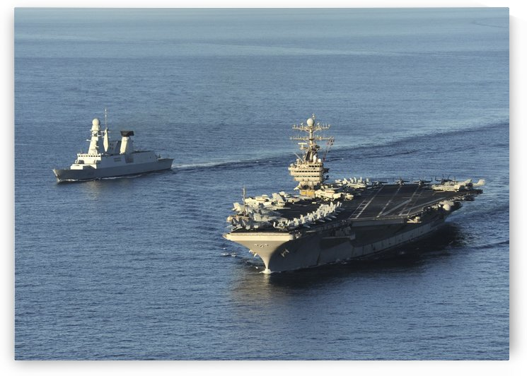 USS Abraham Lincoln and French Navy destroyer Forbin. by StocktrekImages