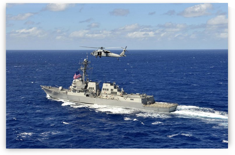Guided-missile destroyer USS William P. Lawrence in the Pacific Ocean. by StocktrekImages