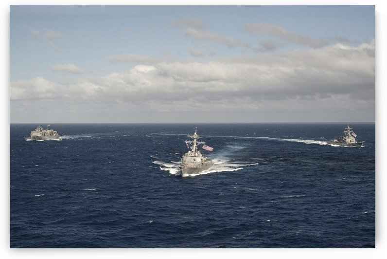 USNS Rainier and guided missile destroyers USS Stockdale and USS William P. Lawrence. by StocktrekImages