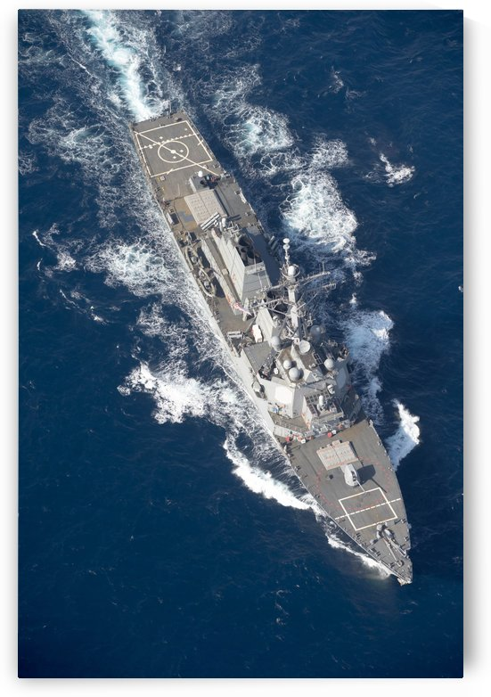 USS Stout transits the Mediterranean Sea. by StocktrekImages