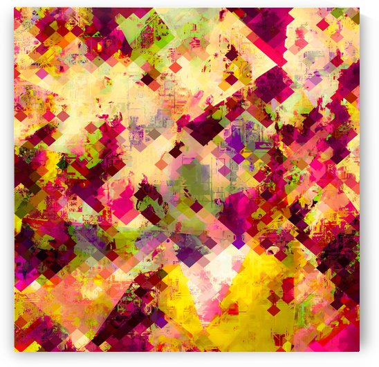 geometric square pixel pattern abstract in pink yellow purple by TimmyLA