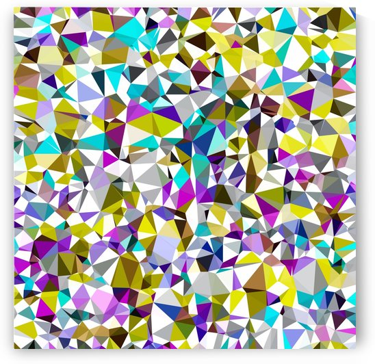 geometric triangle polygon pattern abstract background in yellow blue pink by TimmyLA