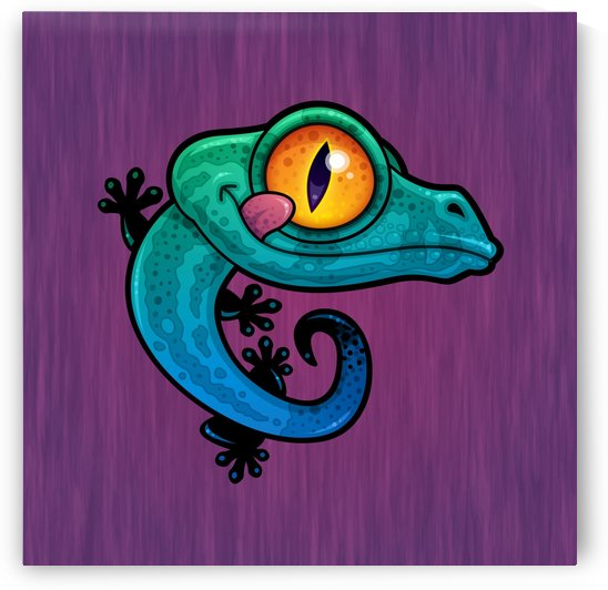 Cute Colorful Cartoon Gecko by fizzgig