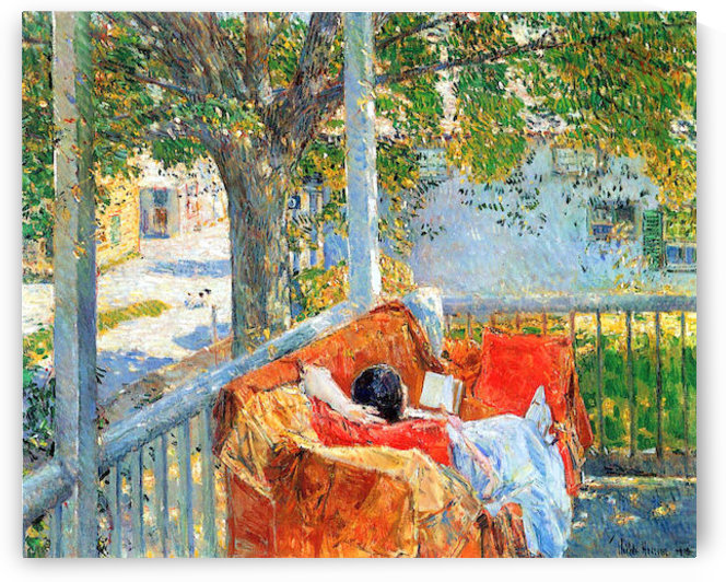 Couch and Veranda at Cos Cob by Hassam by Hassam