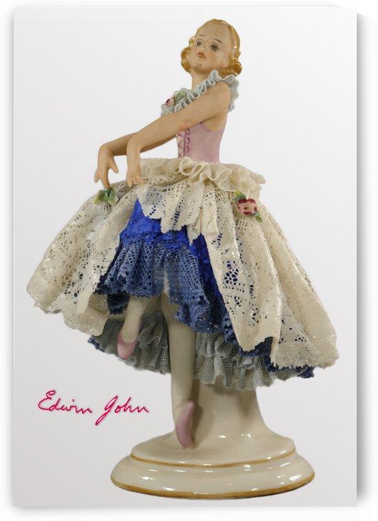 Porcelain Dancer on Tip Toe Blue Dress with Lace overskirt - Edwin John by Edwin John