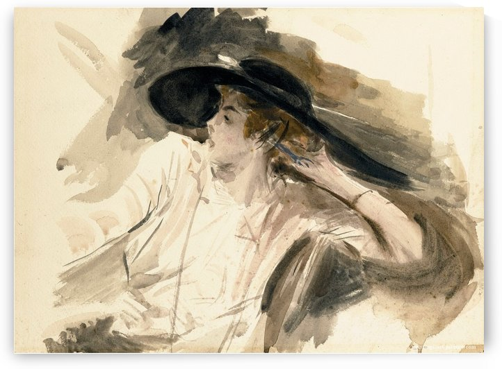 Young Woman in a Large Hat by Giovanni Boldini