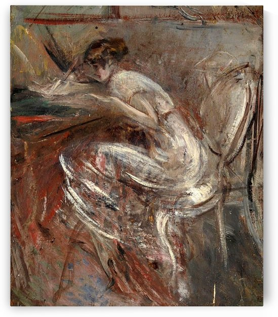 Study of Young Woman Writing by Giovanni Boldini