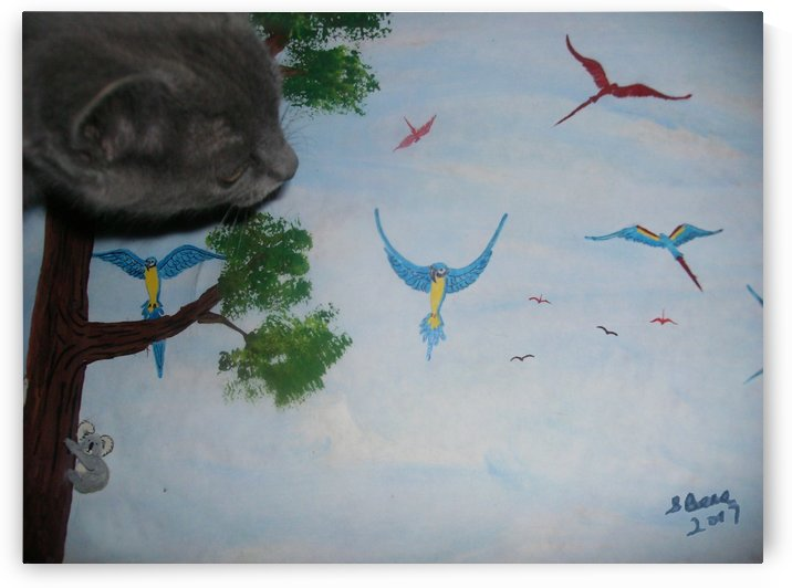 Real Kitty Hunting The Macaws by Bells Paintings