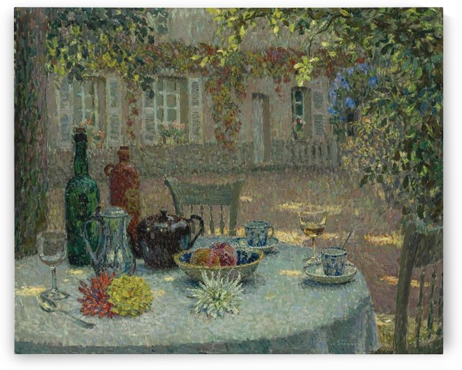 Table with Dahlias by Henri Le Sidaner