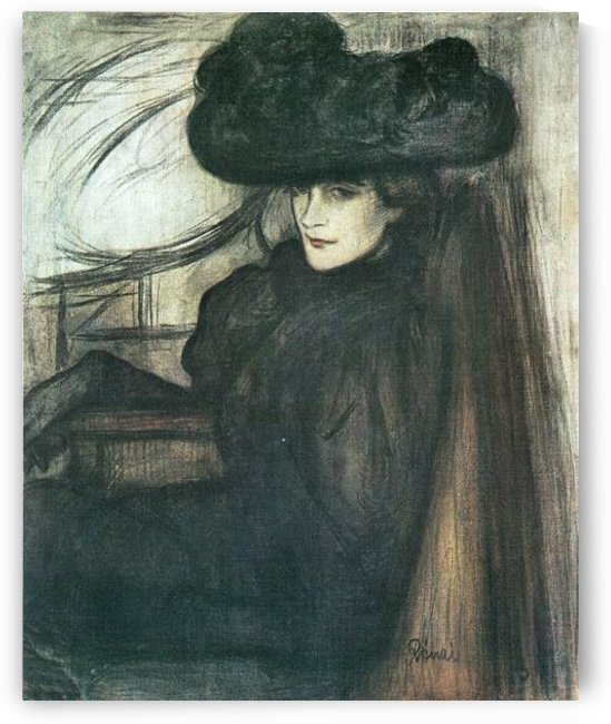 Lady with black veil  by Joseph Rippl-Ronai by Joseph Rippl-Ronai
