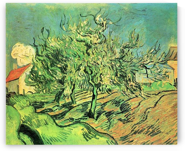 Landscape with three trees and houses by Van Gogh by Van Gogh