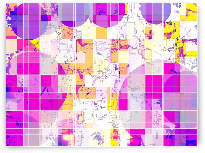 geometric square and circle pattern abstract in pink purple yellow by TimmyLA