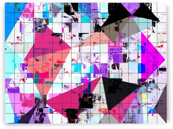 geometric triangle and square pattern abstract in pink purple blue by TimmyLA