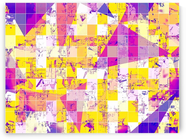 geometric square and triangle pattern abstract in pink yellow blue by TimmyLA