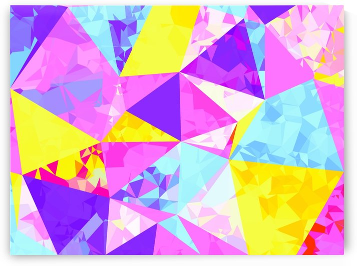 geometric triangle polygon pattern abstract in pink purple blue yellow by TimmyLA