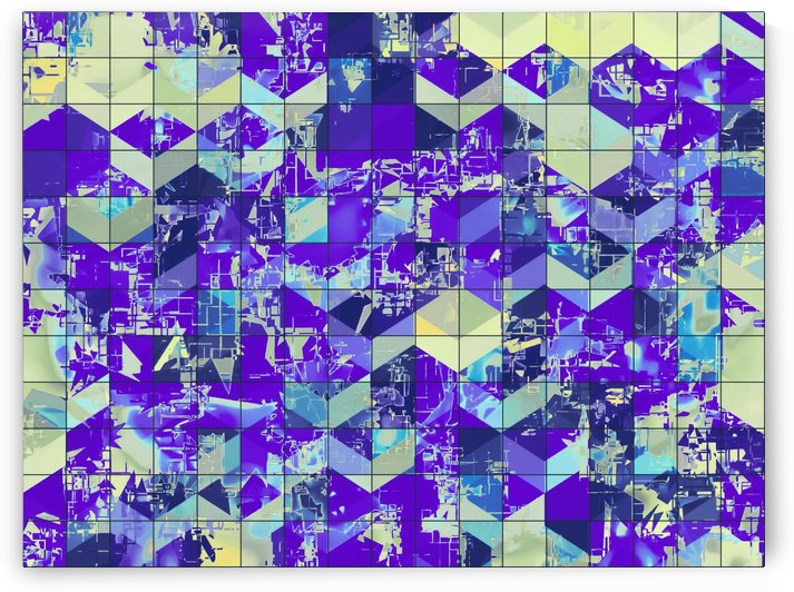 geometric square and triangle pattern abstract in purple and blue by TimmyLA