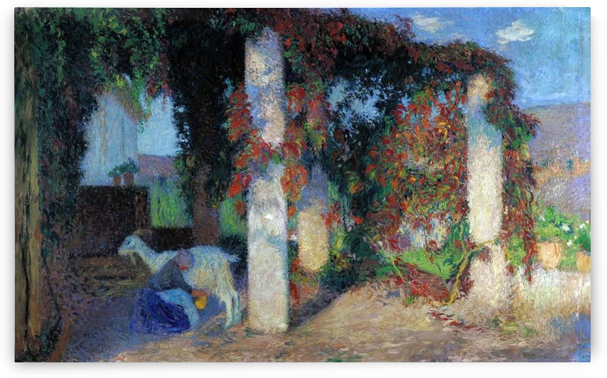 Young Girl Milking the Goat in the Arbour of Marquyarol by Henri Martin