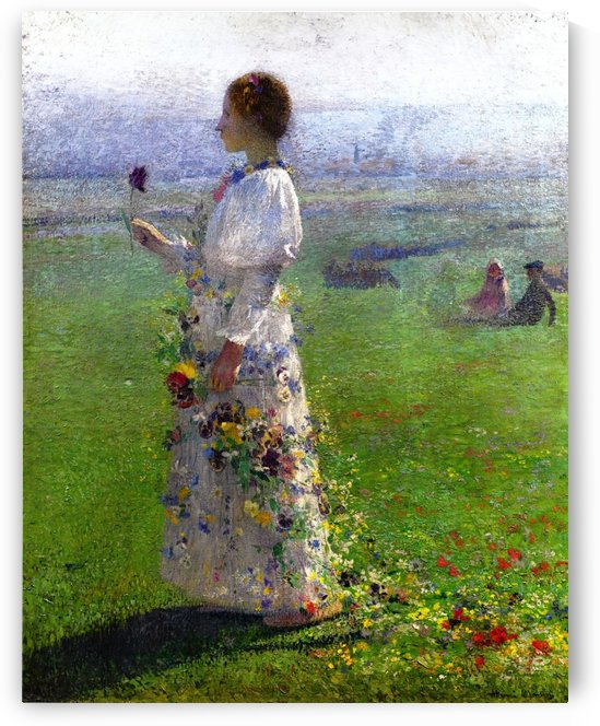 Young Woman Walking by the Field by Henri Martin