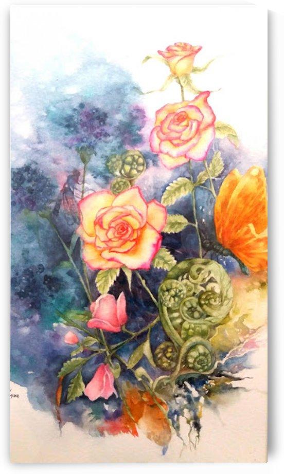 Peachy Roses by Lesley Milne