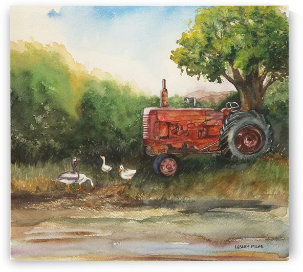 Retired Red Tractor by Lesley Milne