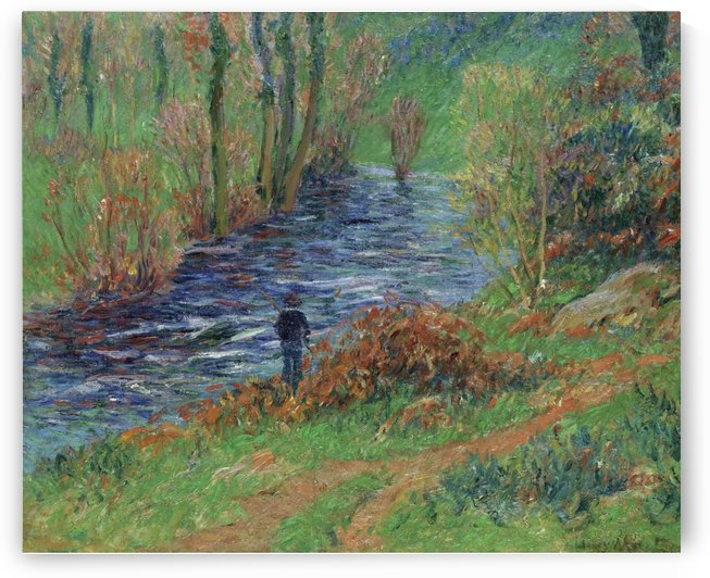 Fisher on the Bank of the River by Henry Moret