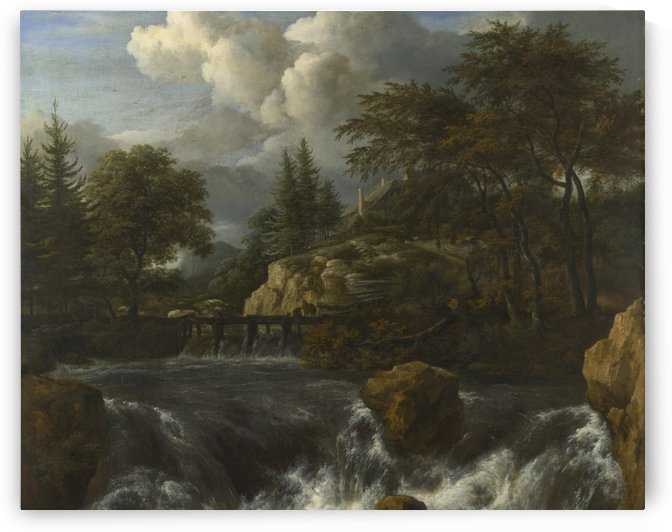 A Waterfall in a Rocky Landscape by Jacob Van Ruisdael