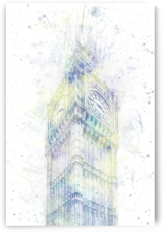 Modern Art BIG BEN | watercolor  by Melanie Viola