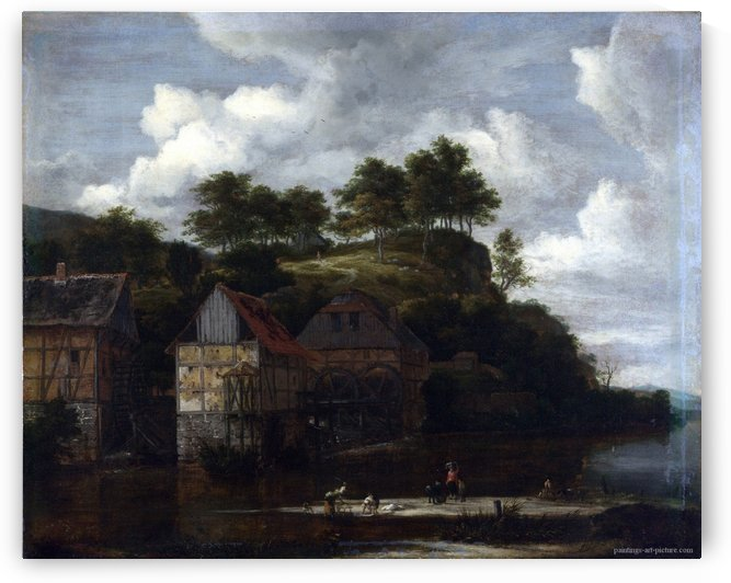 Three Watermills with Washerwomen by Jacob Van Ruisdael