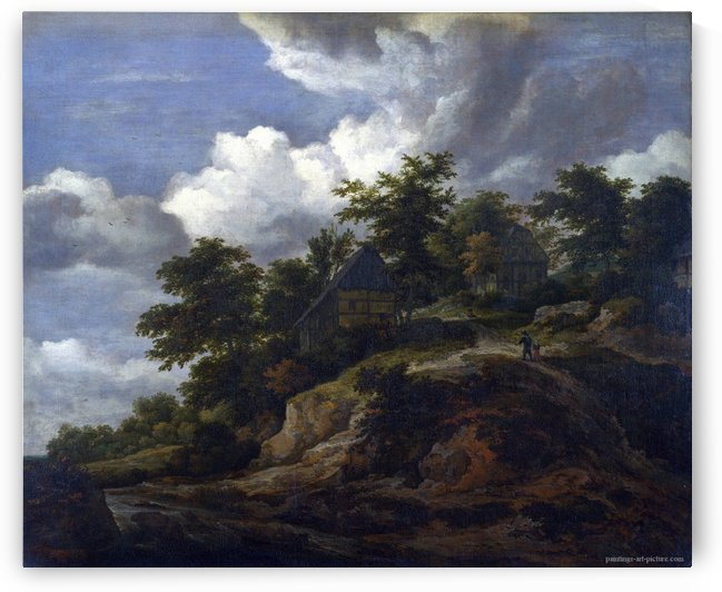 A Rocky Hill with Three Cottages, a Stream at its Foot by Jacob Van Ruisdael