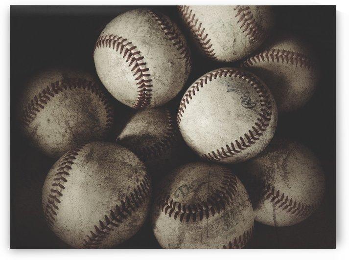 Grungy Baseballs on a Shelf  by Leah McPhail
