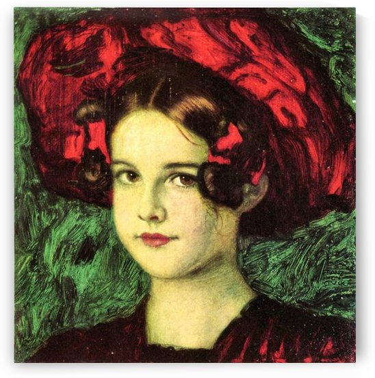 Mary with red hat by Franz von Stuck by Franz von Stuck