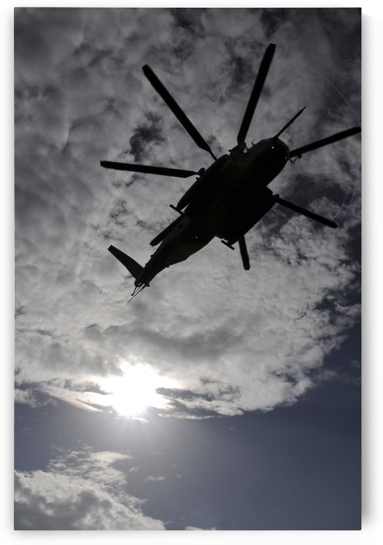 Low angle view of a CH-53E Super Stallion helicopter in flight. by StocktrekImages