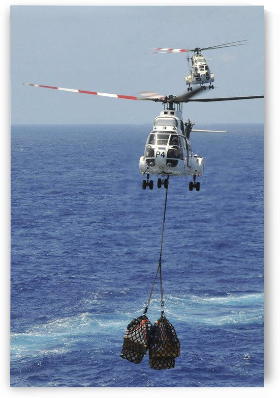 Two SA-330 Puma helicopters deliver pallets. by StocktrekImages