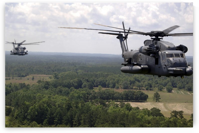 MH-53 Pave Low helicopters. by StocktrekImages