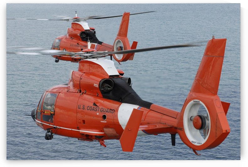 Two Coast Guard HH-65C Dolphin helicopters fly in formation over the Atlantic Ocean. by StocktrekImages