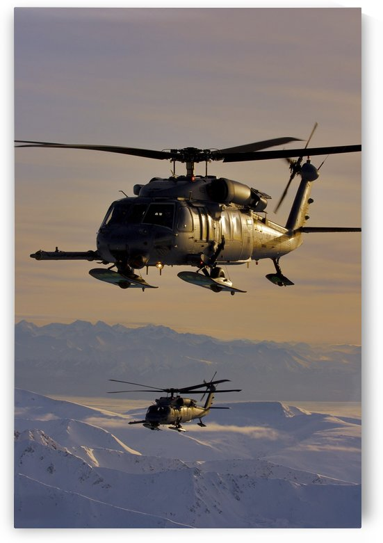 Two Alaska Air National Guard HH-60G Pave Hawks in flight over Alaska by StocktrekImages