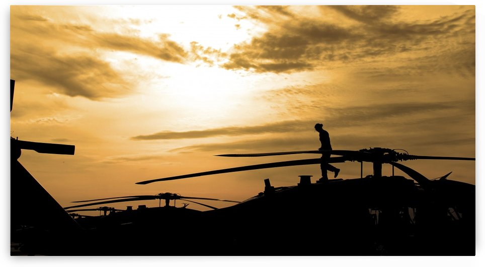 A pilot conducts a pre-flight inspection on a UH-60 Black Hawk helicopter. by StocktrekImages