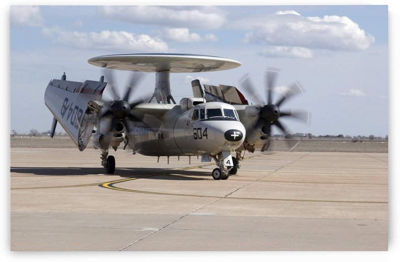 An E-2C Hawkeye on the runway at Cannon Air Force Base. by StocktrekImages