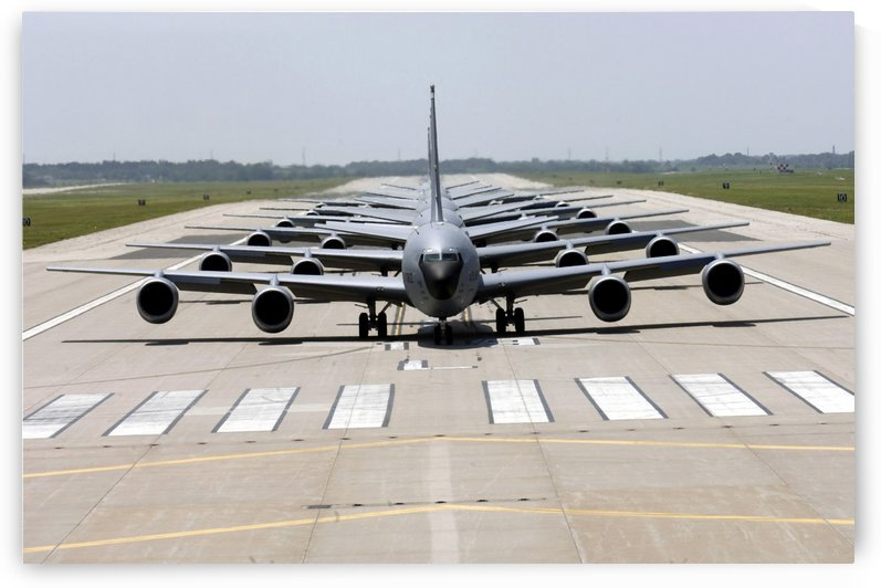 Six KC-135 Stratotankers demonstrate the elephant walk formation. by StocktrekImages