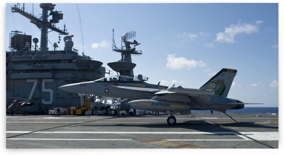 An EA-18G Growler lands aboard the aircraft carrier USS Harry S. Truman. by StocktrekImages