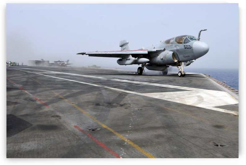 An EA-6B Prowler catapults from the aircraft carrier USS Ronald Reagan. by StocktrekImages