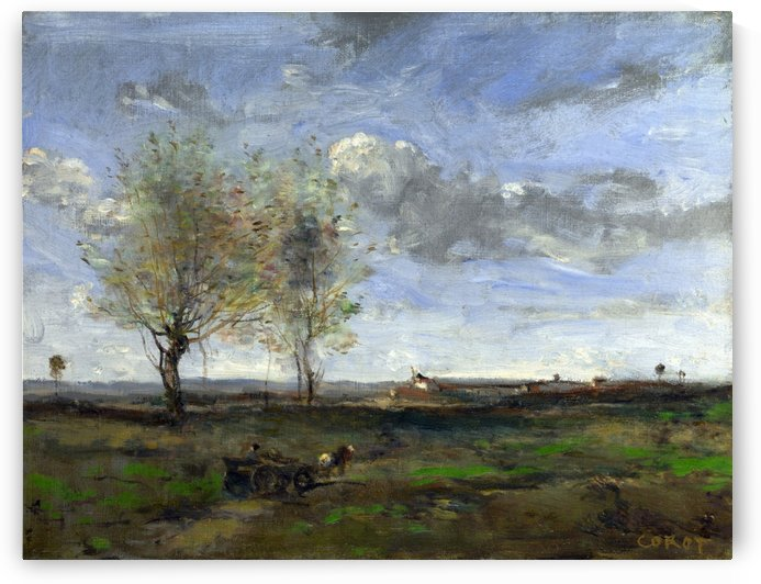 A Wagon in the Plains of Artois by Jean-Baptiste-Camille Corot