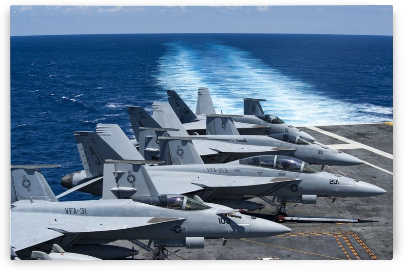 F-A-18 Super Hornets on the flight deck of USS George H.W. Bush. by StocktrekImages