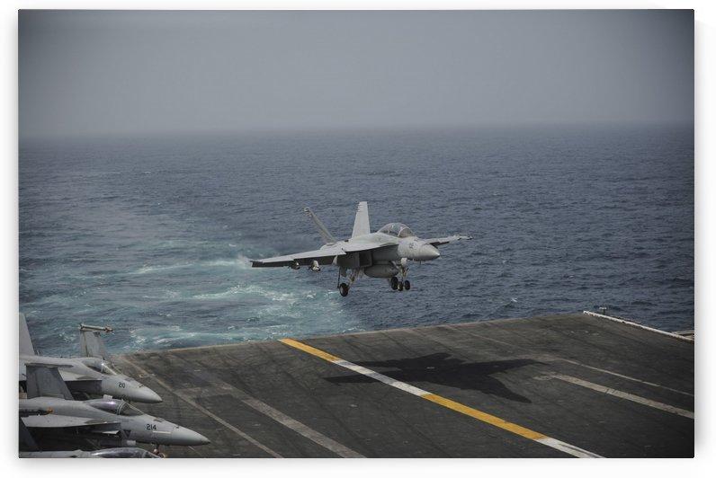 An F-A-18F Super Hornet lands on the aircraft carrier USS Nimitz. by StocktrekImages