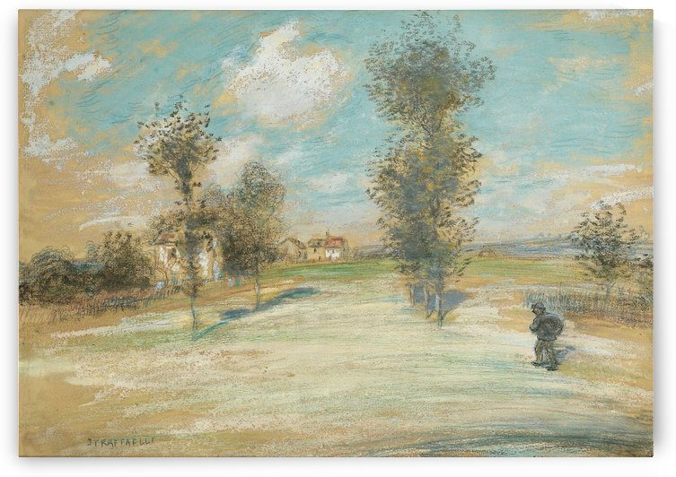 Landscape with a Peasant on the Road by Jean-Francois Raffaelli