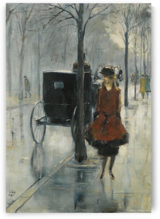 Street Scene with Woman, Berlin by Lesser Ury